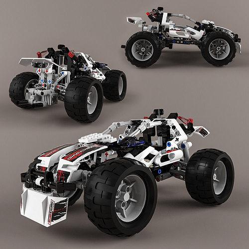 lego technic quad bike alternative model 3d model max obj. Black Bedroom Furniture Sets. Home Design Ideas