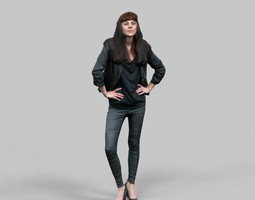 fashion girl in black outfit posing 3d model low-poly obj fbx