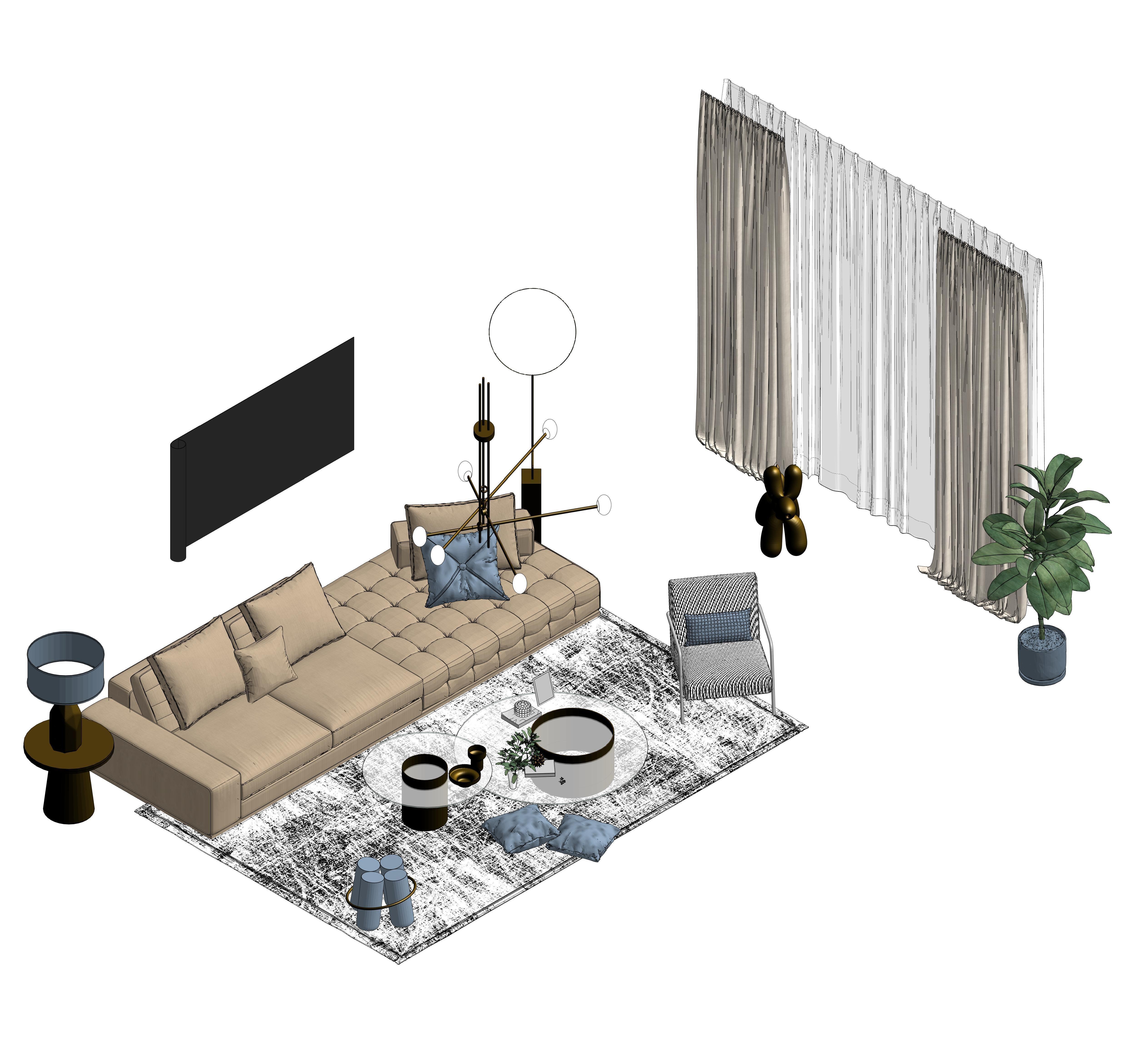 Revit Livingroom 3D Model