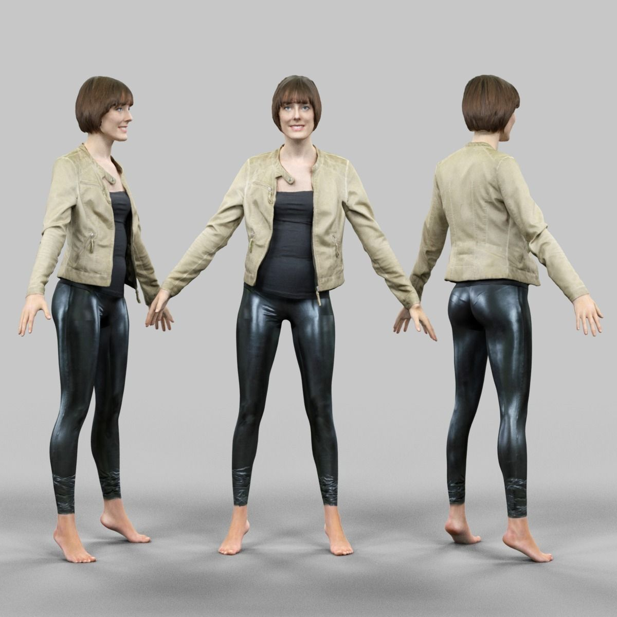 3d Model 10 A Pose Rig Ready Female Characters Vr Ar