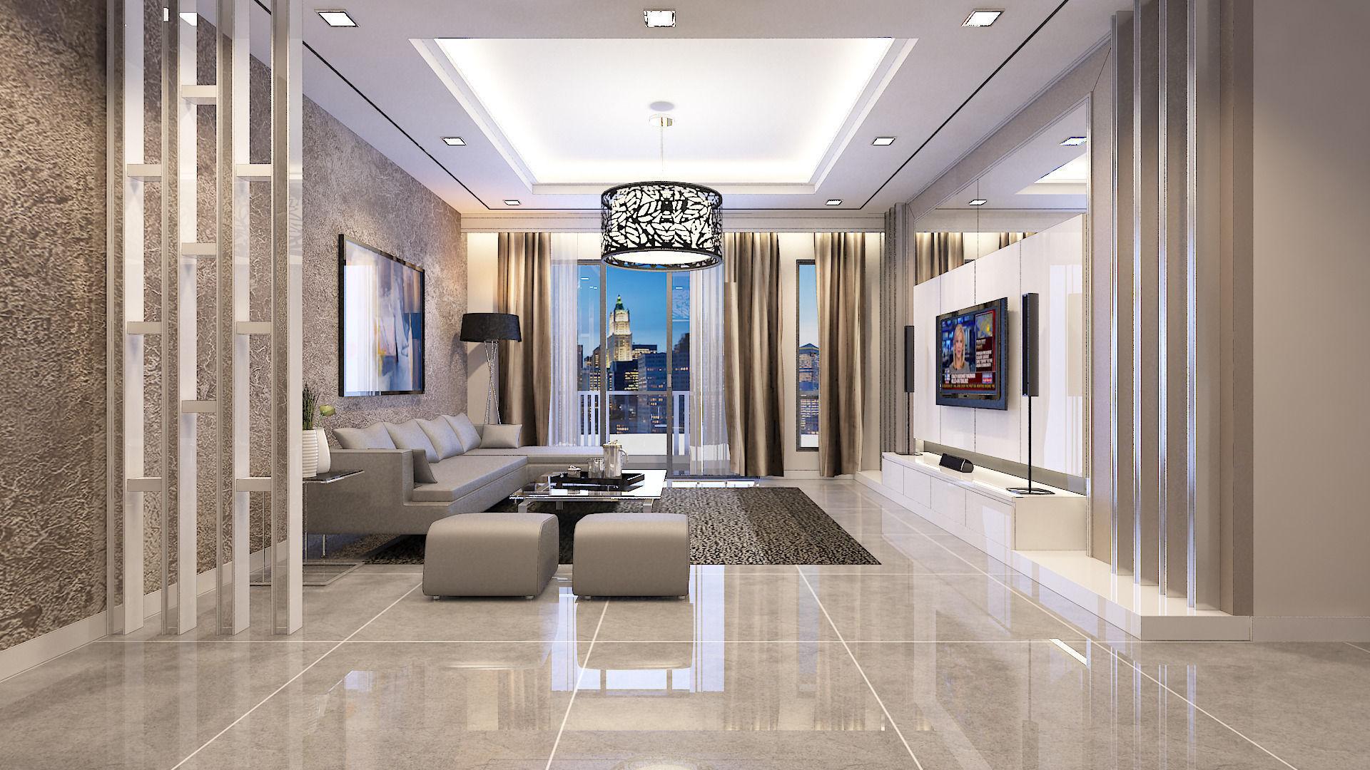 living room design 3d model  Living Room Condominium 3D model | CGTrader