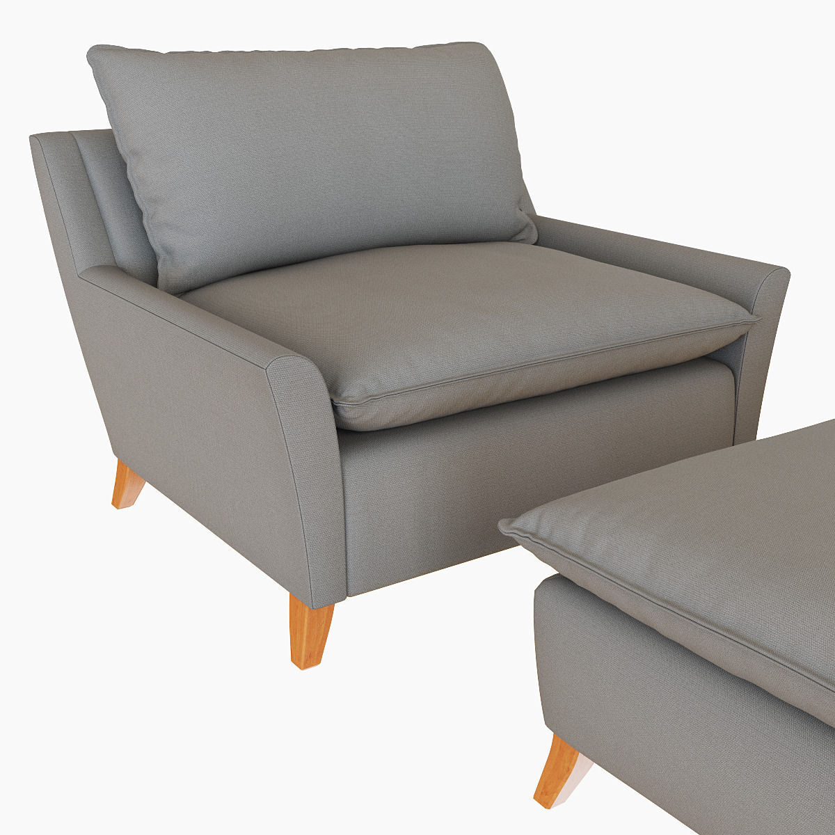 west elm bliss down-filled chair-and-a-half 3d model max obj fbx mtl