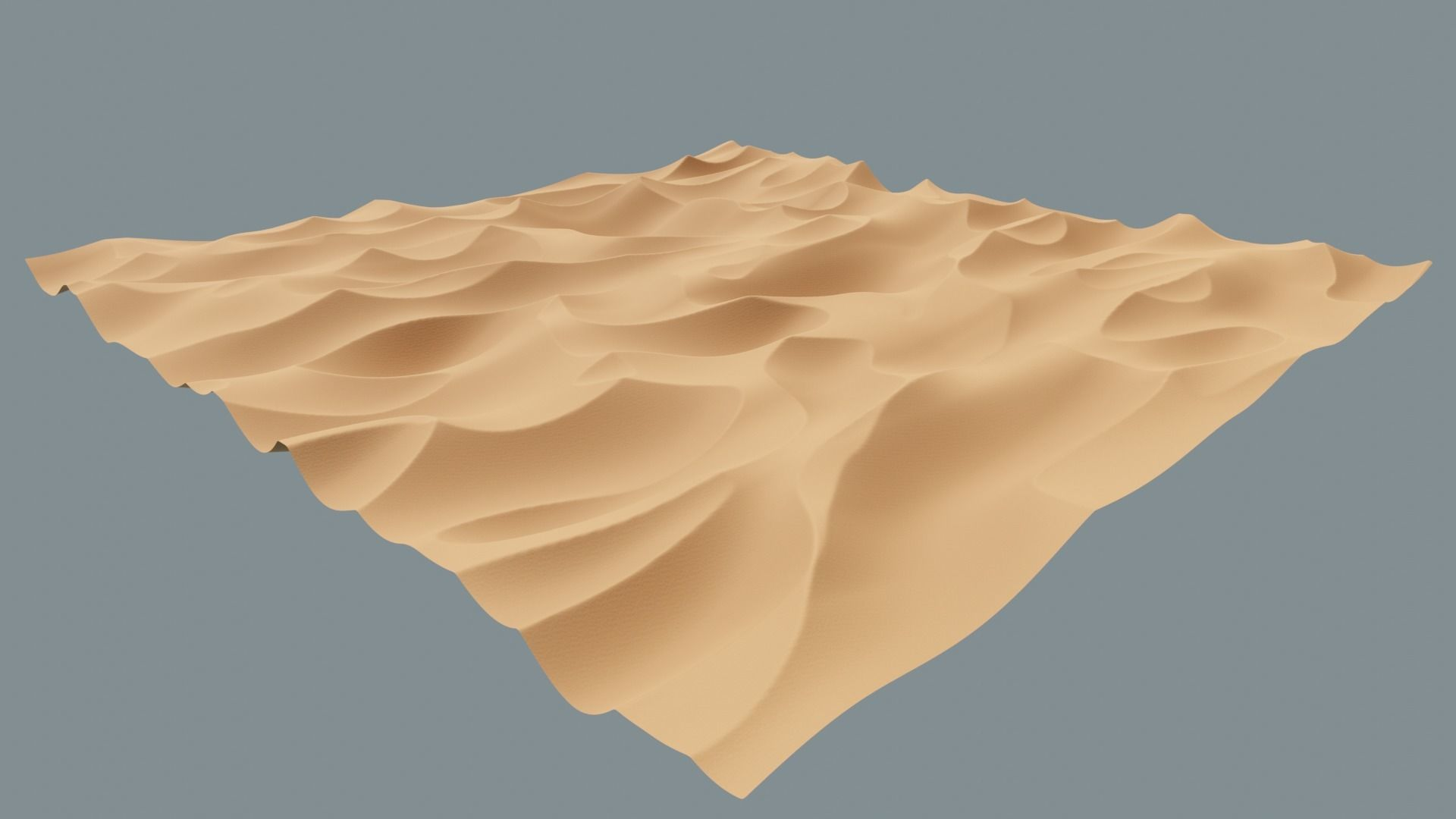 High-Poly Desert Sand Dune Landscape Model