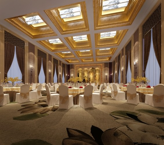 3d Model Banquet Hall Served Cgtrader