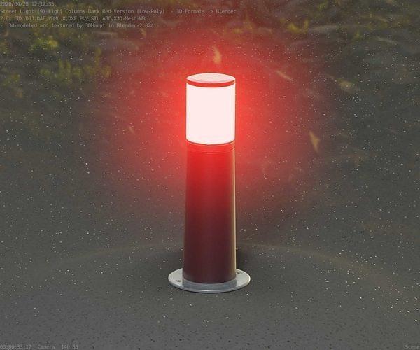 Dark Red Light-Column -9- Street-Light 9
