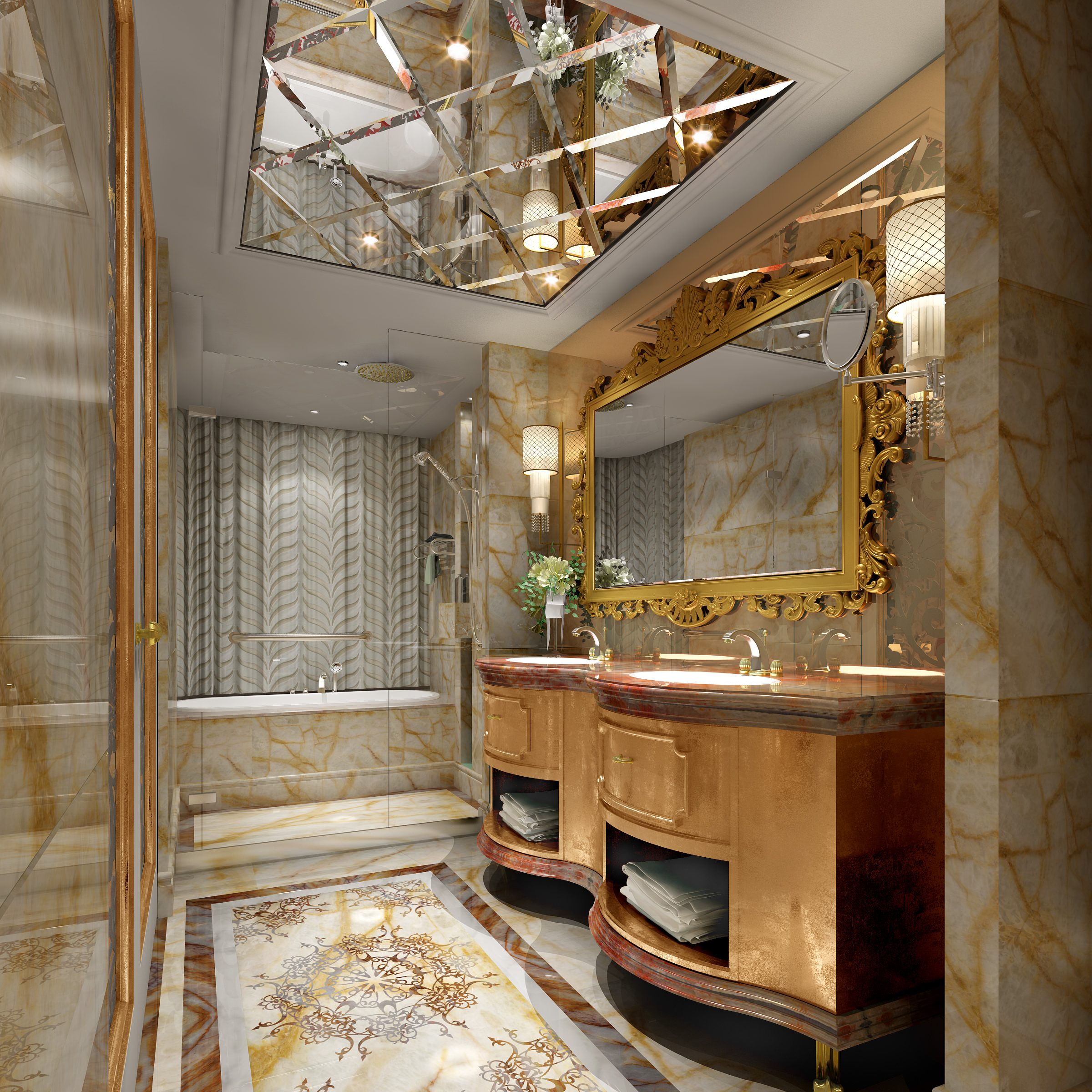 Bathroom With Ceiling Mirror 3d Model Max 1 ...