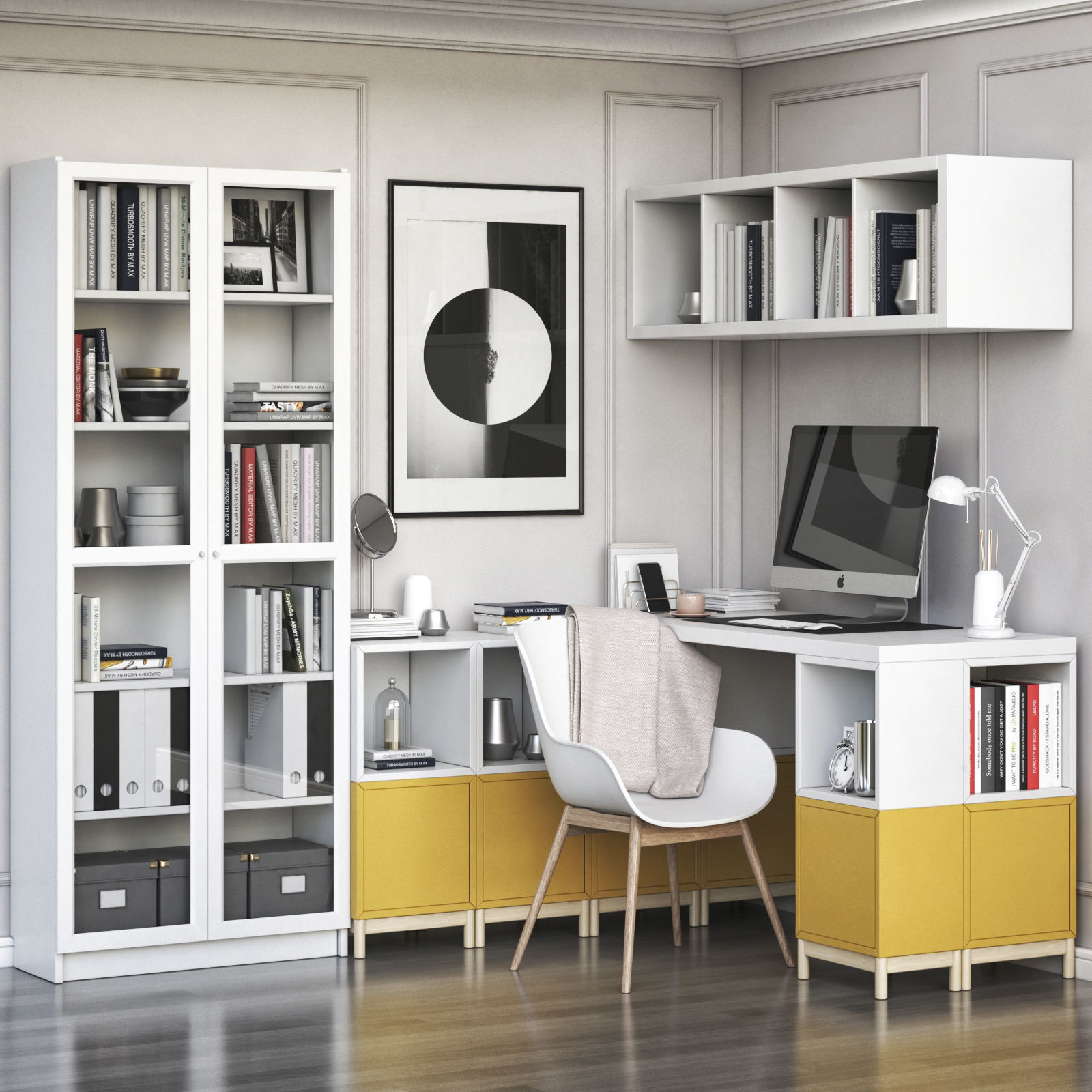 corner workplace with EKET and BILLY OXBERG bookcase