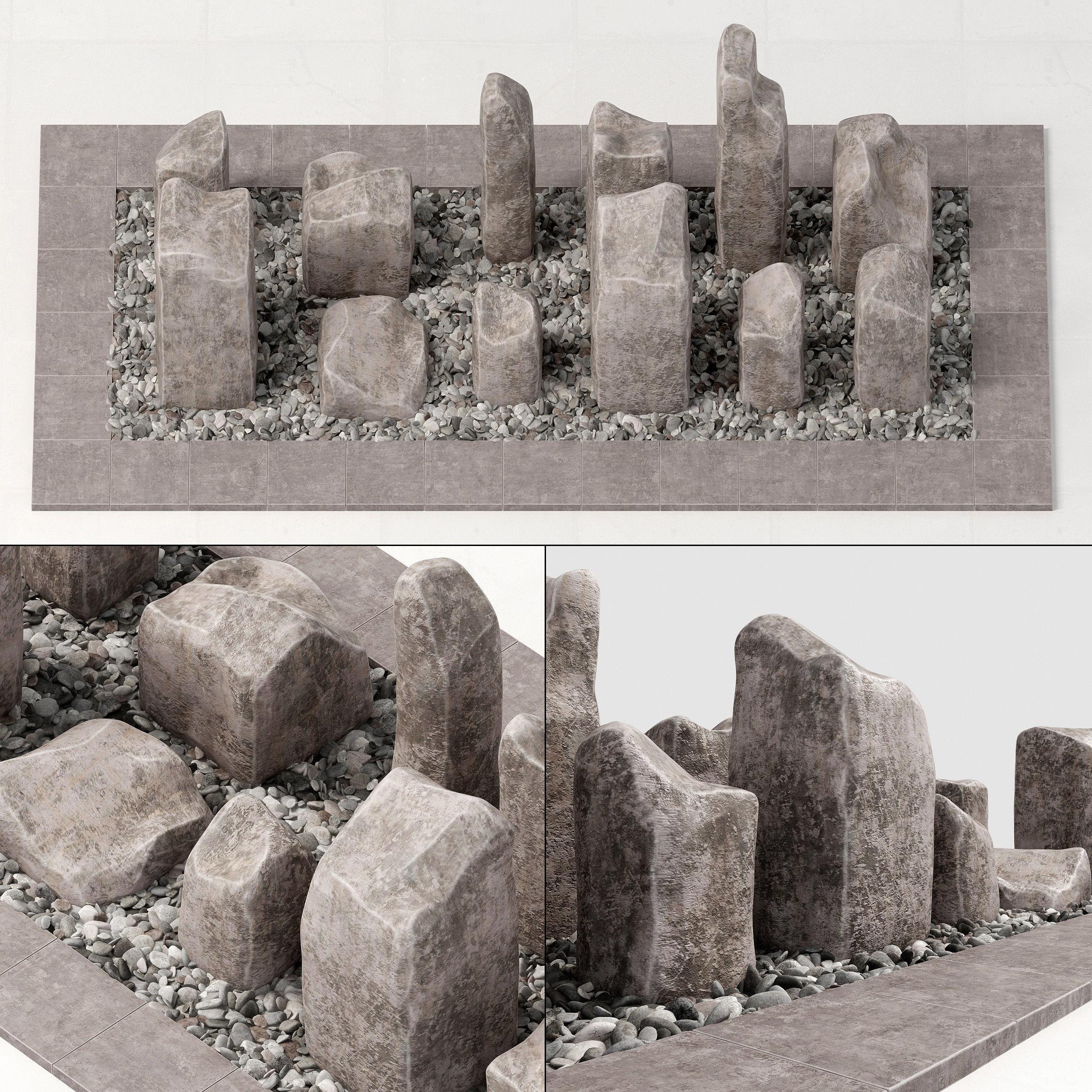 Square stone block pebble fundament n1