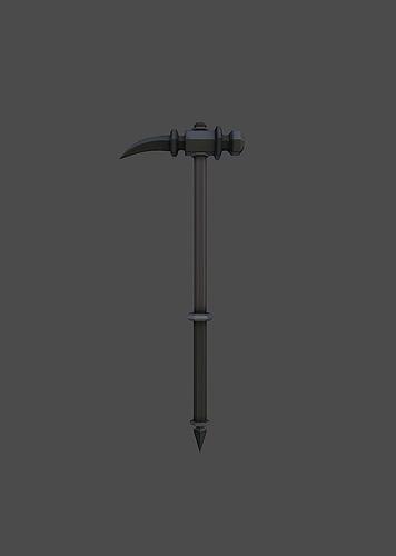 knight hammer 3d model low-poly obj fbx mtl tga 1