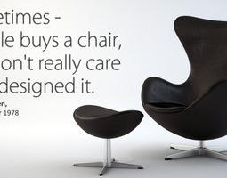 3d the egg chair with stool - arne jacobsen
