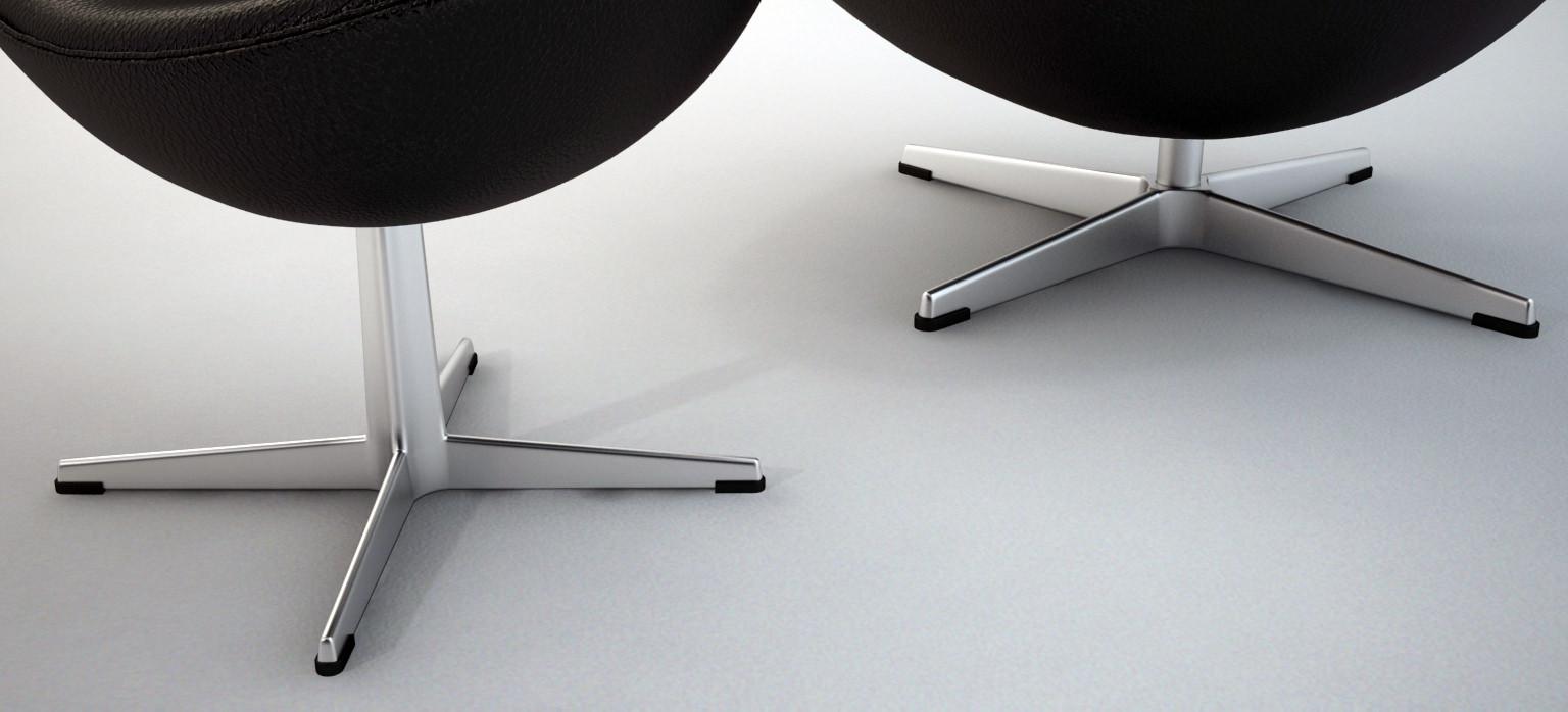 The Egg Chair with stool - Arne Jacobsen 3D model MAX OBJ 3DS FBX ...