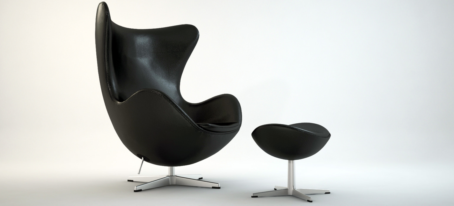 ... The Egg Chair With Stool   Arne Jacobsen 3d Model Max Obj 3ds Fbx Dxf  Dwg ...