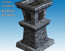 3d model low-poly archer tower