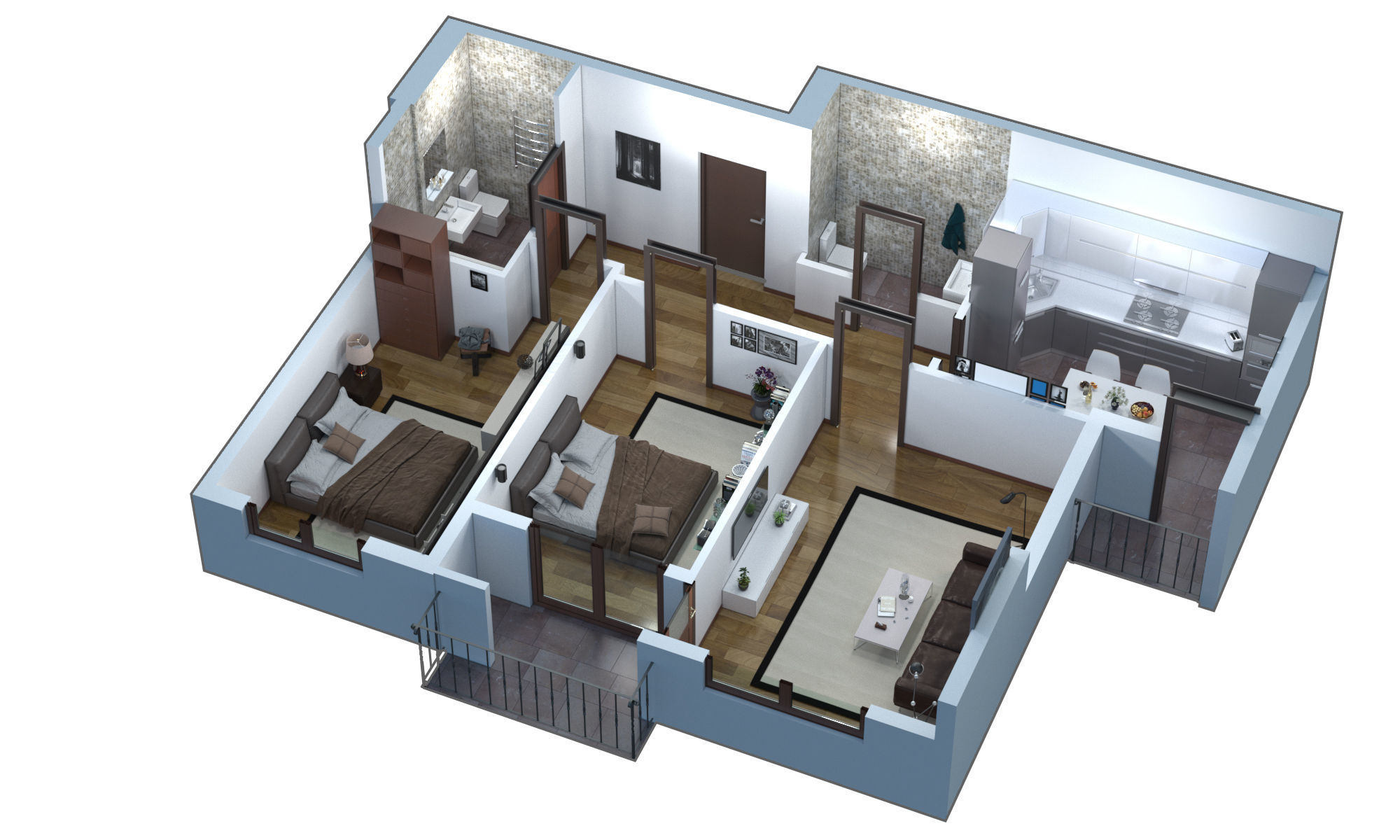 3d Floor Plan Apartment Cgtrader