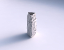 3d print model vase triangle with twisted random triangle plates
