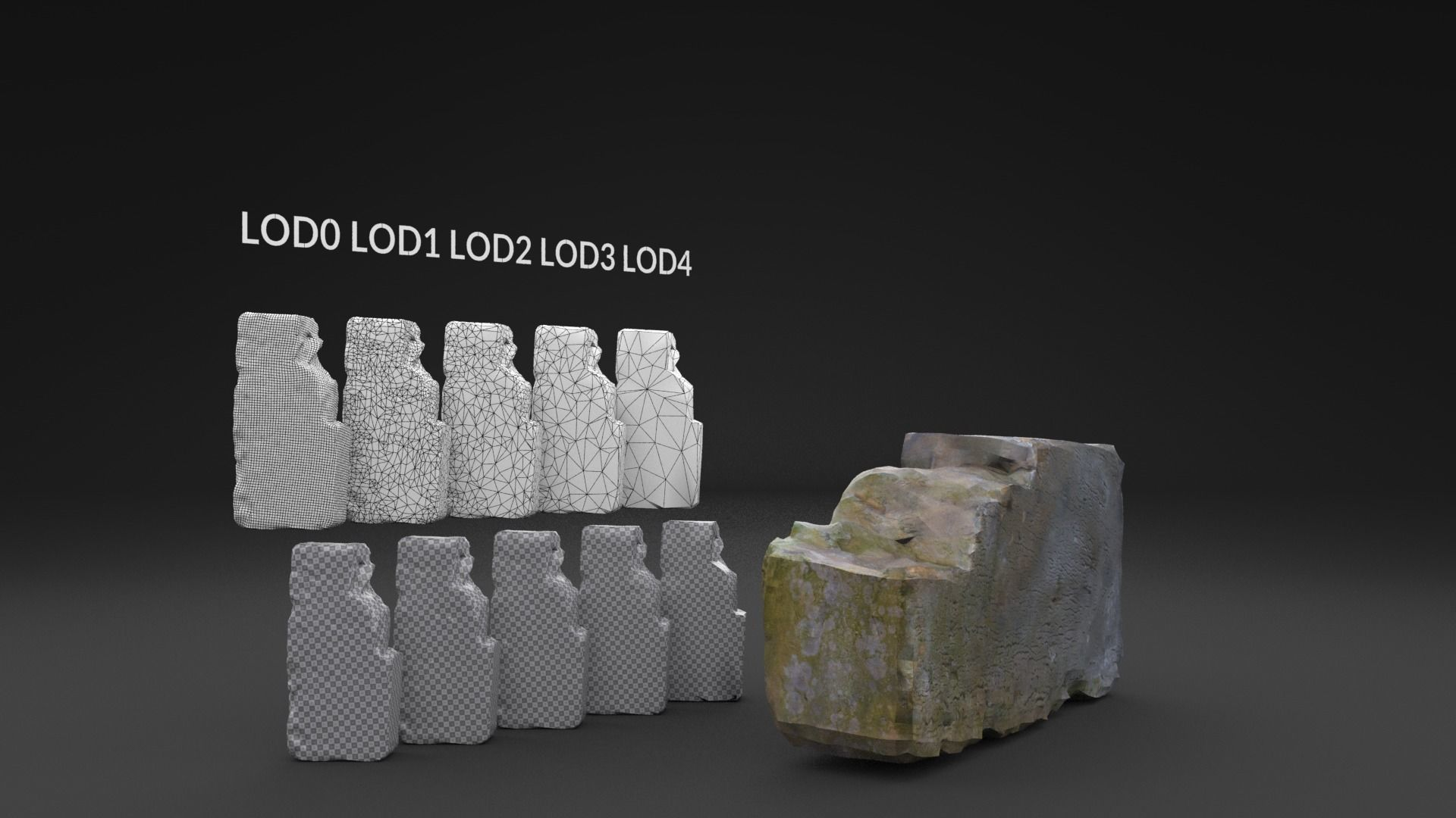 Scanned Old Brick LOW POLY  LODs