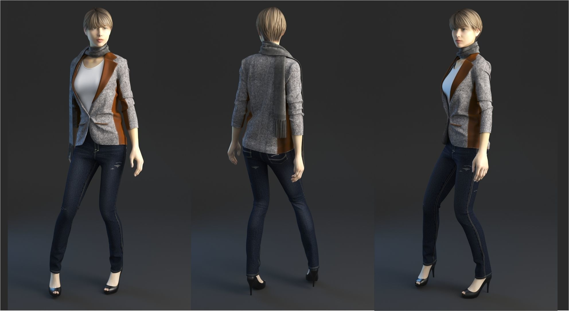 Jeans with jacket