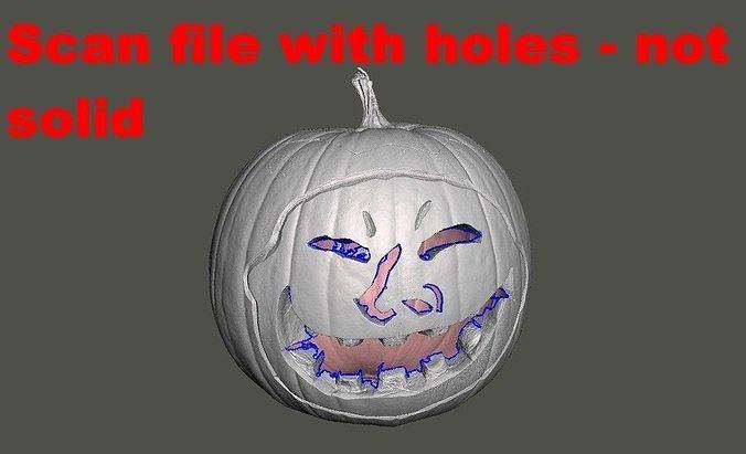 Halloween Pumpkin With Face 3D Scan