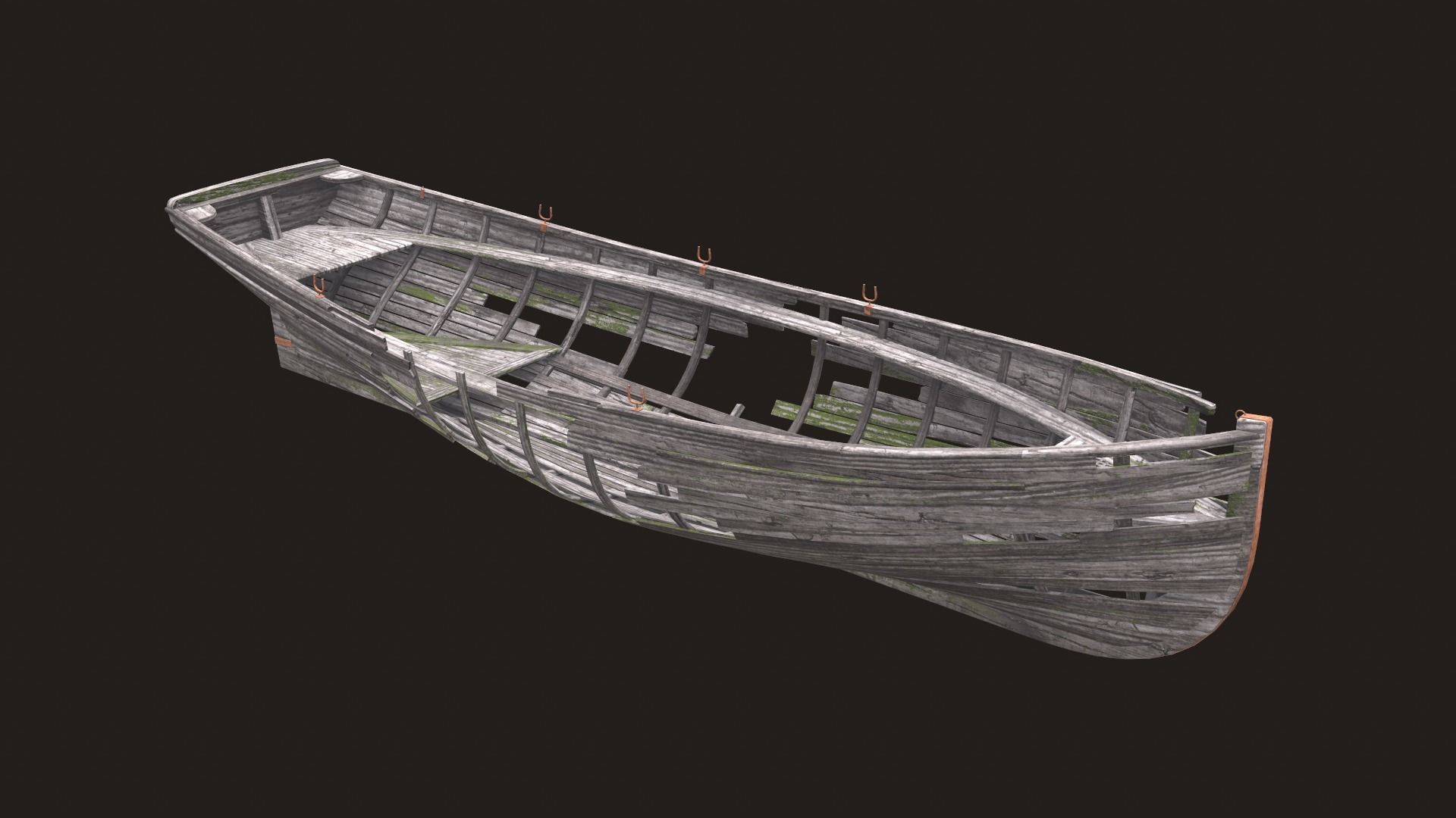 Ruined wooden boat Yal-6