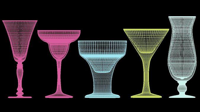mega glass collection 01 3d model max obj 3ds fbx dxf dwg 7