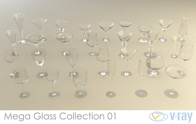 mega glass collection 01 3d model max obj 3ds fbx dxf dwg 1