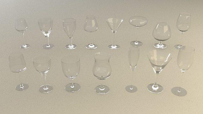 mega glass collection 01 3d model max obj 3ds fbx dxf dwg 4