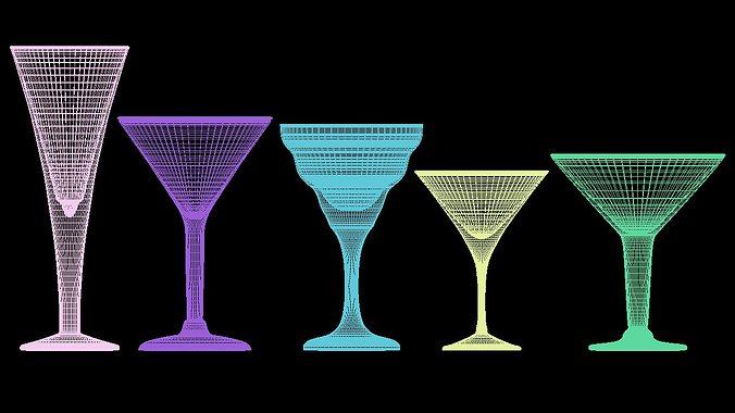 mega glass collection 01 3d model max obj 3ds fbx dxf dwg 5