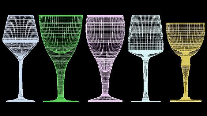 mega glass collection 01 3d model max obj 3ds fbx dxf dwg 9