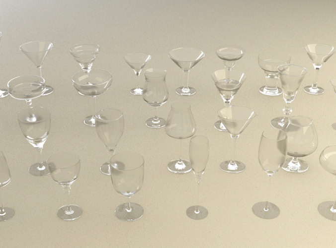 mega glass collection 01 3d model max obj 3ds fbx dxf dwg 2