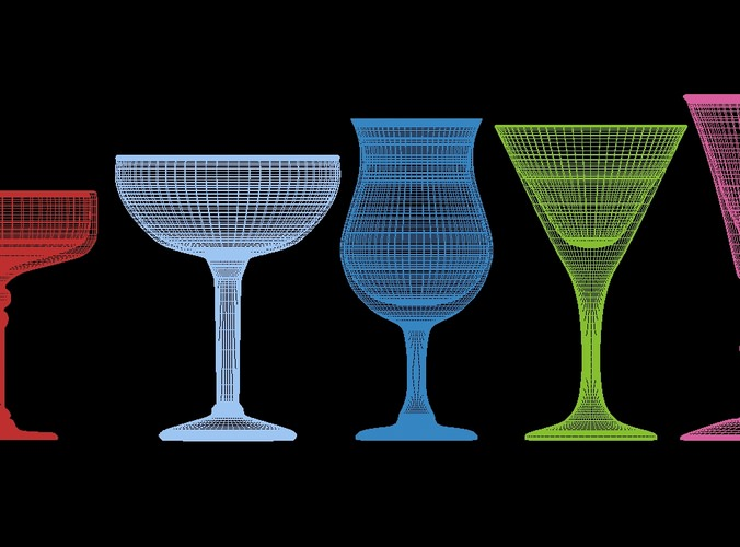 mega glass collection 01 3d model max obj 3ds fbx dxf dwg 6