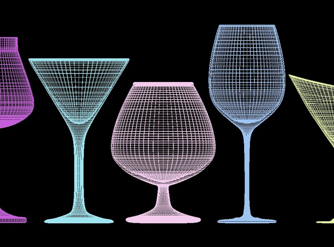 mega glass collection 01 3d model max obj 3ds fbx dxf dwg 8