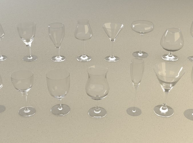 mega glass collection 01 3d model max obj 3ds fbx dxf dwg 4