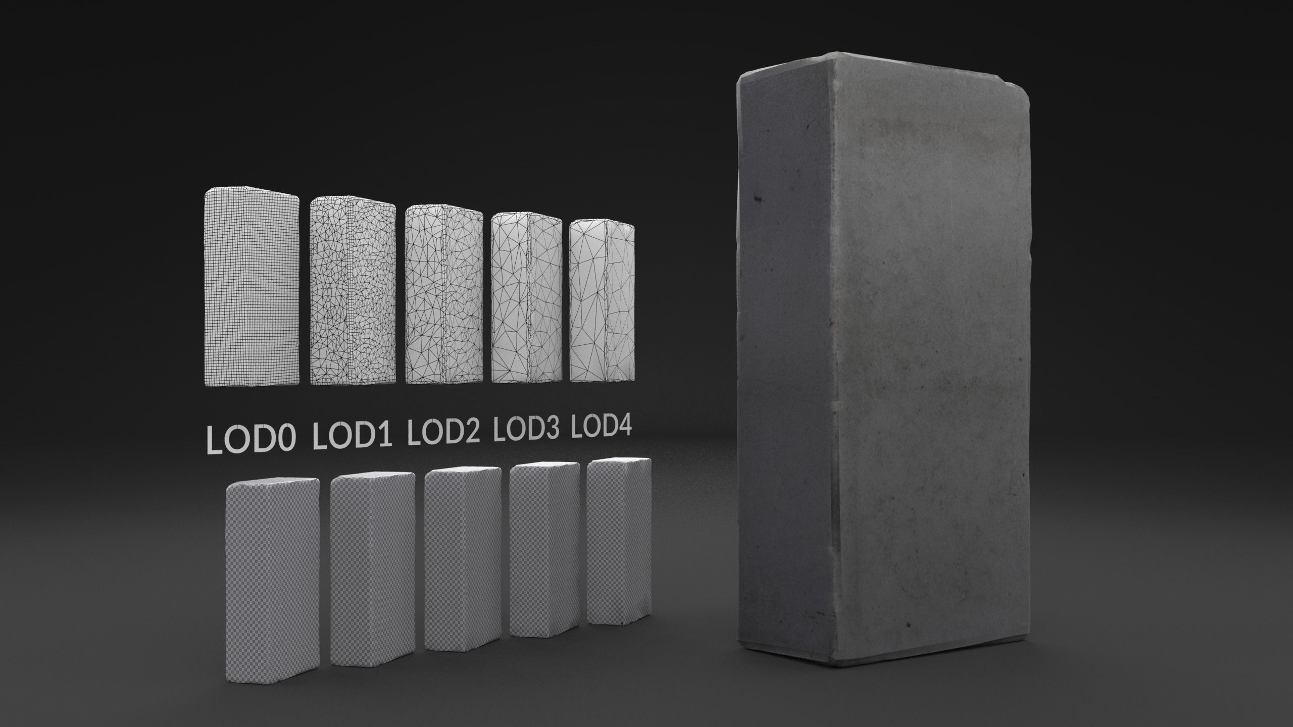 Scanned White Silicate Brick LOW POLY LODs