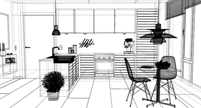 Kitchen Design Dwg 3d modern kitchen interior 001 | cgtrader