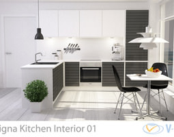 3D Modern Kitchen Interior 001