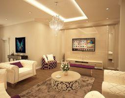 Living Room 2 3D Model OBJ MA MB MTL