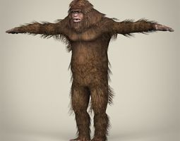 low poly realistic sasquatch game-ready 3d model