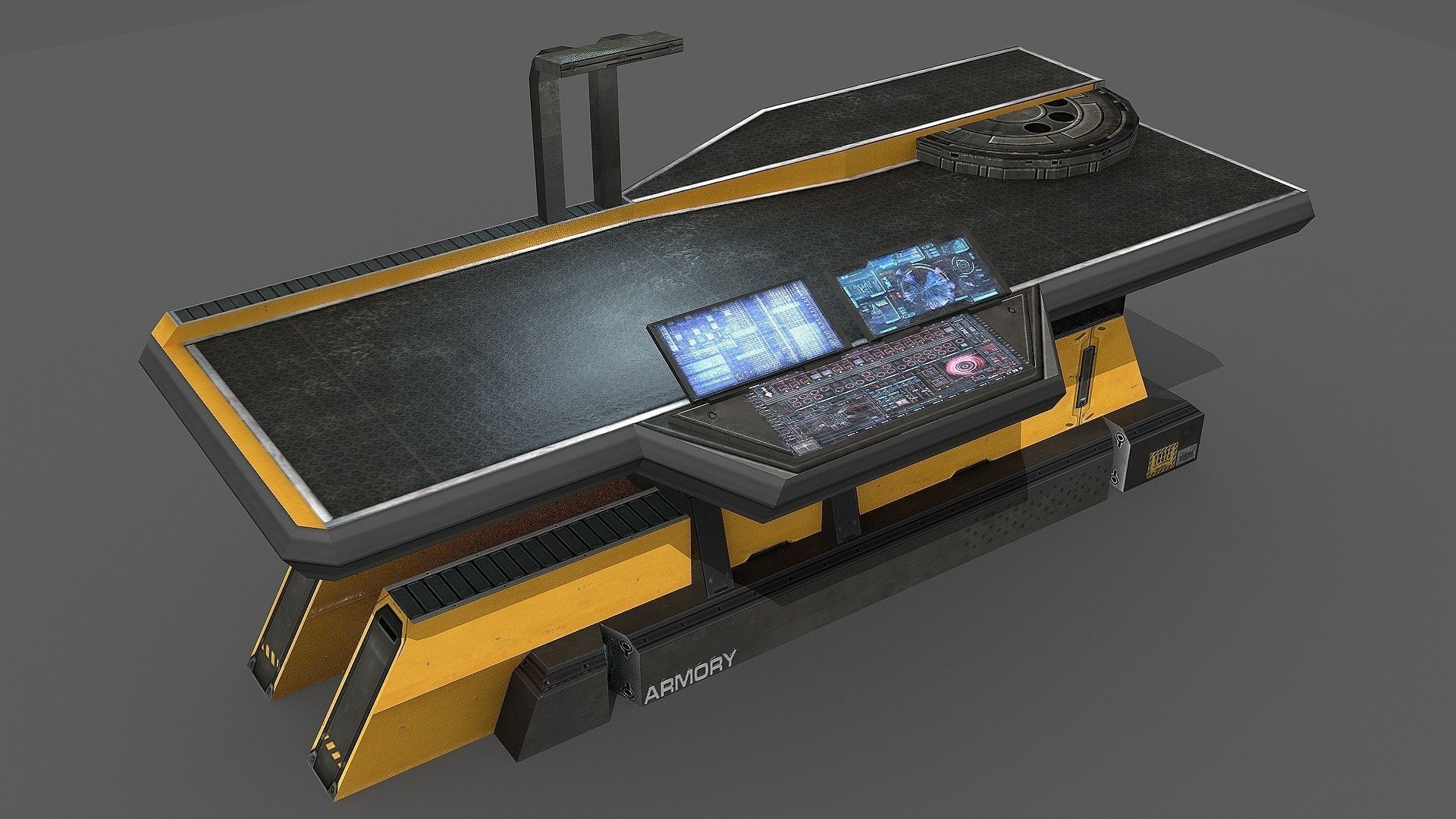 3d model sci fi repair table vr ar low poly obj 3ds for Table design 3d model