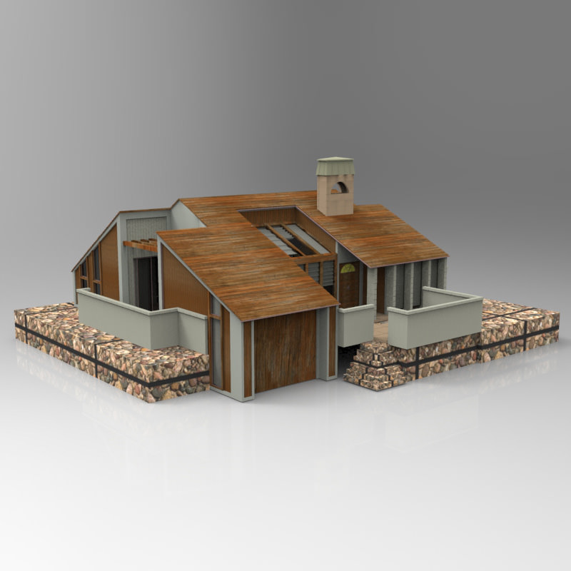 One story home 3d model max obj for Home 3d model
