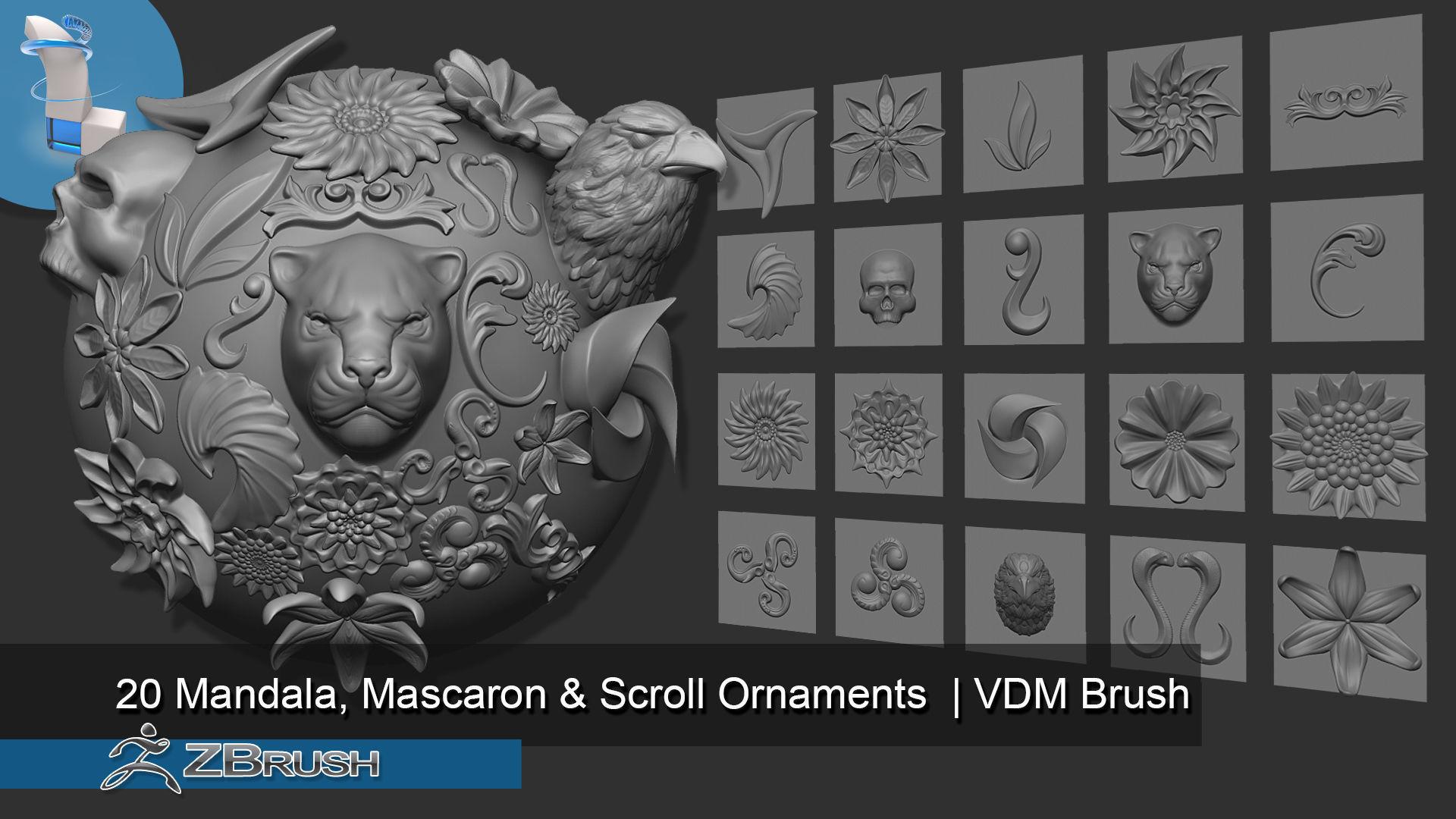 Zbrush VDM Ornaments Mandalas and Mascaron Brush