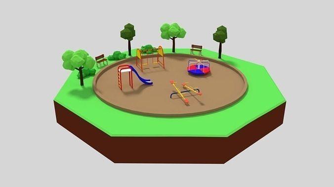 Low Poly Cartoon Playground Scene