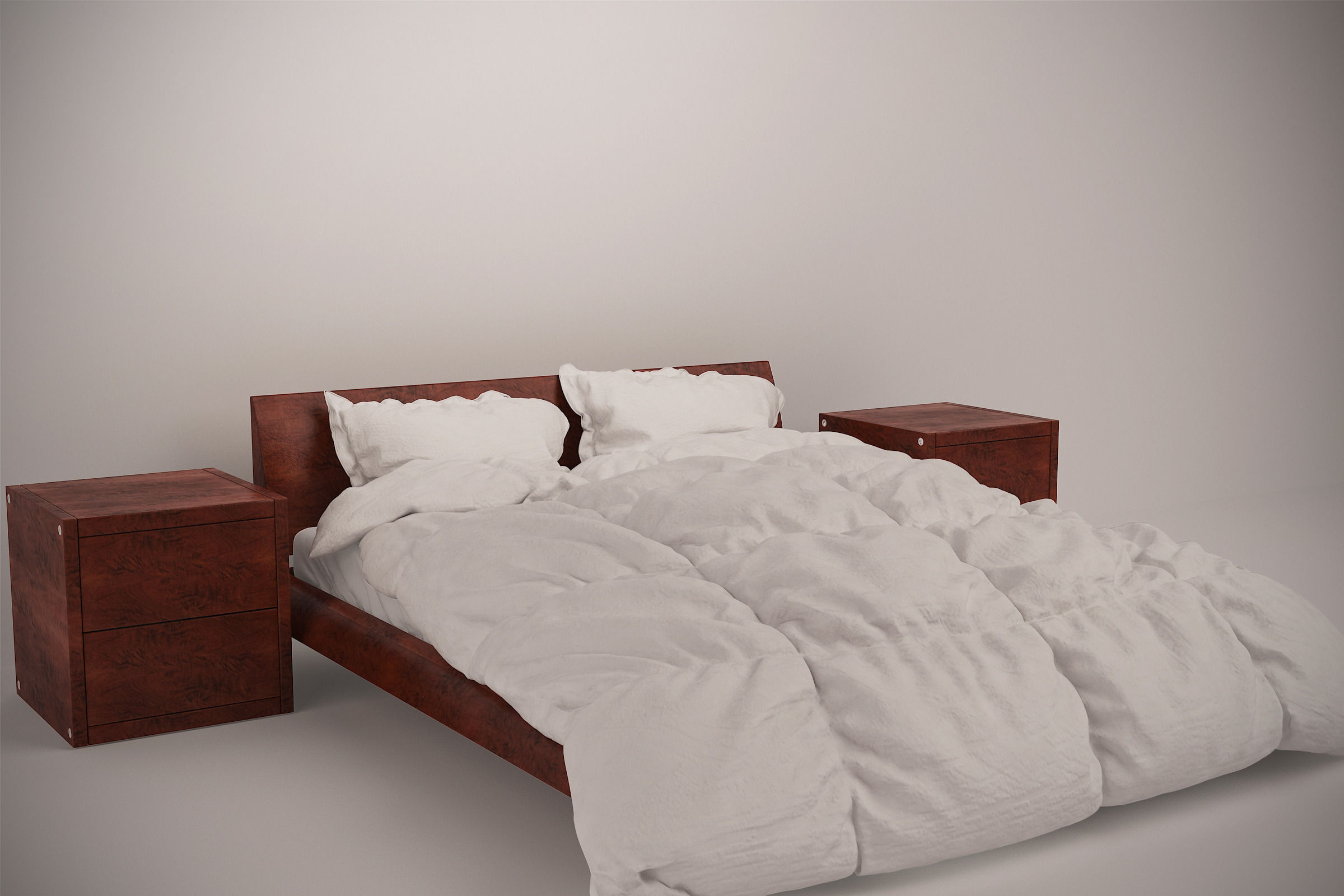 Wooden Bed Set With Duvet And Pillows Model Max Obj Mtl 1
