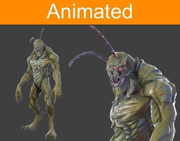 character hexapod 3d model low-poly animated 3ds fbx