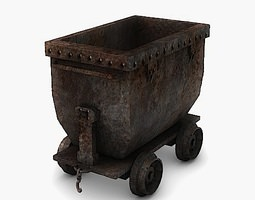 low poly mine cart 3d model VR / AR ready