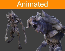 character monster with peaks 3d model low-poly animated 3ds fbx