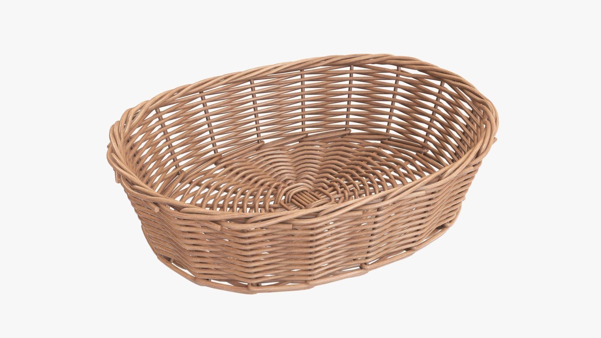 Wicker basket oval light brown