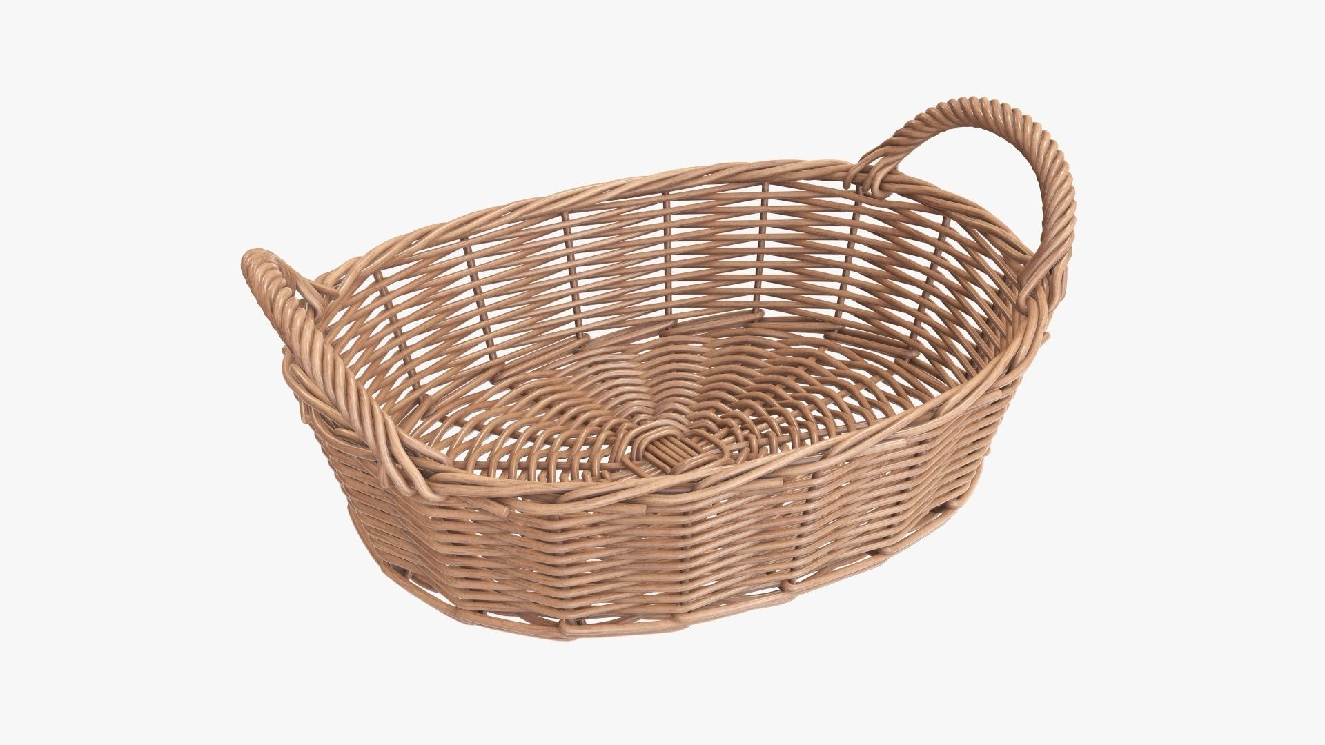 Wicker basket oval with handles light brown