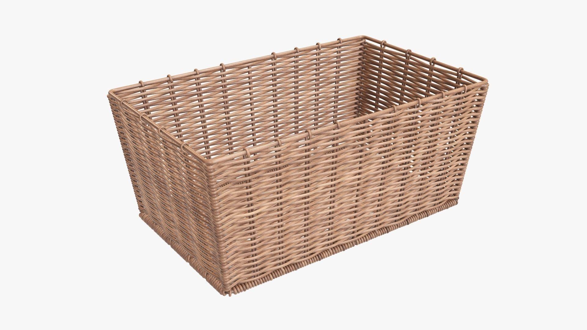 Wicker basket rectangular 02 light brown