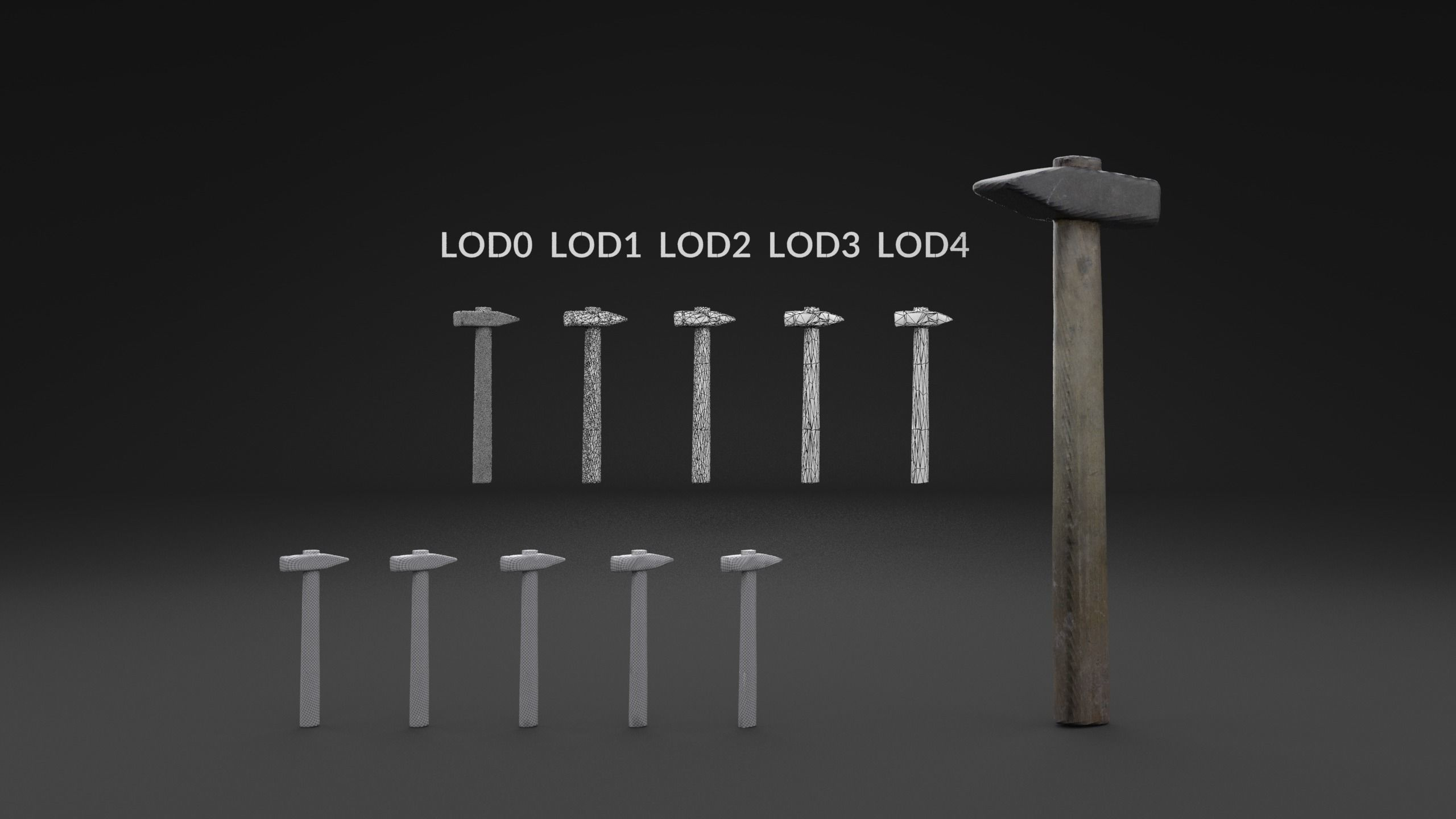 Scanned Old Damaged Hammer LOW POLY LODs