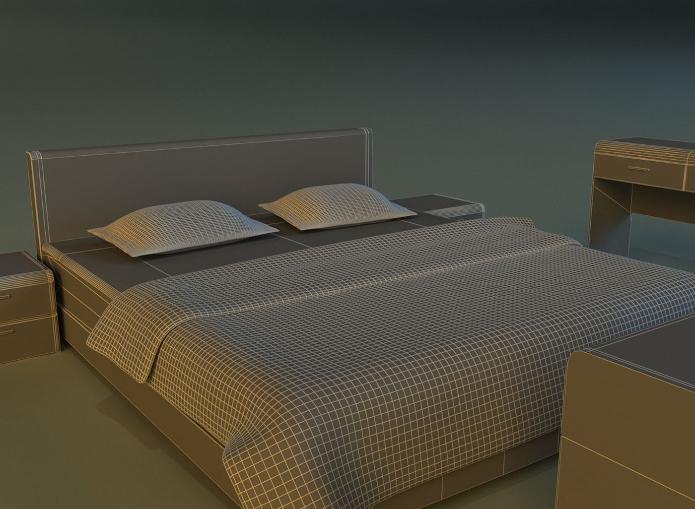 Bed dark wood 3d model max obj 3ds fbx mtl for 3ds max bed model